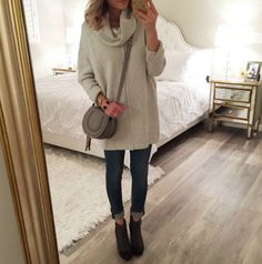 oversize grey cowl neck sweater, dark wash skinny jeans, brown ankle boots