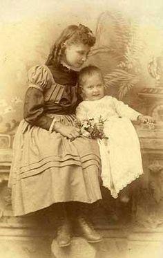 Helen Keller with Baby-Sister Mildred