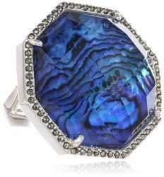 """Blue Maldives"" Sterling Silver, Blue Abalone and Swarovski Marcasite Ring #unusualengagementrings"