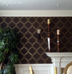 Dark Elegant Dining Room Makeover - Acanthus Trellis Wall Stencils - Wall Painting Stencils with Damask Wallpaper Pattern - Royal Design Studio Damask Wall Stencils, Wall Stencil Patterns, Stencil Painting On Walls, Large Stencils, Wall Stenciling, Damask Wallpaper, Wall Wallpaper, Diy Tapete, Stone Wall Design