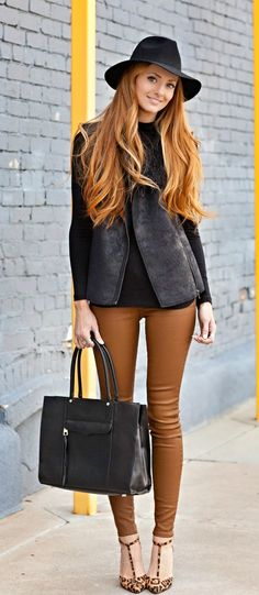 Faux Leather Pant +  Lepord Shoes