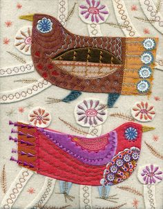 Fabric birds with lovely stitching...