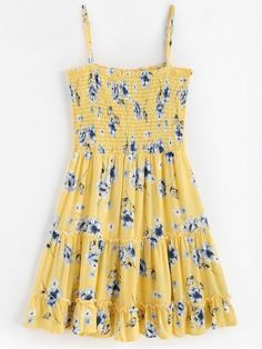 Smocked Frilled Slip Dress - Corn Yellow S Pretty Dresses, Sexy Dresses, Dress Outfits, Casual Dresses, Casual Outfits, Girl Outfits, Fashion Dresses, Mini Dresses, Fashion Clothes