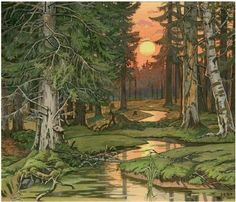 English: Fairy Forest at Sunset by Ivan Bilibin. Ivan Bilibin Alternative names English: Ivan Yakovlevich Bilibin Ivan Bilibin, Art Watercolor, Sunset Watercolour, Watercolor Landscape, Landscape Art, Landscape Paintings, Forest Illustration, Fairy Tale Illustrations, Digital Draw