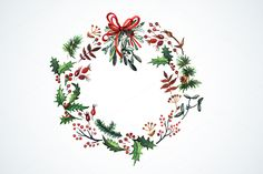 watercolor christmas wreath - Google Search
