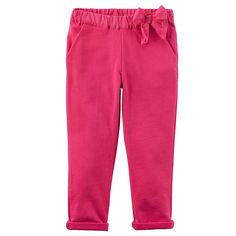 Baby Girl Carter's Bow French Terry Pants, Pink