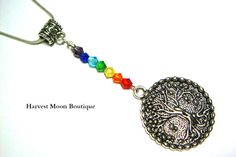 """SIZE: ☆Pendant 3"""" ☆Chain: Your Choice CHARACTERISTICS: ☆Silver Tone Tree of Life Charm ☆Crystal Beads ☆Silver plated headpin and clasp"""