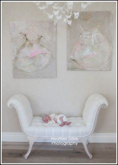 paintings by Laurence, love the chaise (and the baby!)
