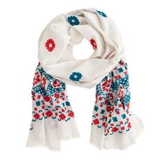 Sale! Must Go! J. Crew Embroidered Scarf