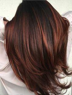 Red bayalage on dark brunette base