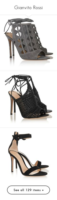 """""""Gianvito Rossi"""" by shoppings9 ❤ liked on Polyvore featuring shoes, sandals, heels, sapatos, high heels, suede shoes, high heel sandals, ankle strap high heel sandals, tie shoes and lace up sandals"""