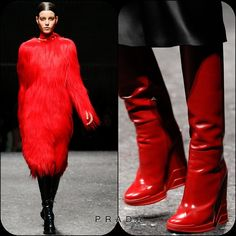 Prada FW14  Stylist Picks:  The perfect Red. For those days when you can't keep your inner Muppet under wraps. Only Miuccia could make this look so wearable. Or for those of us who prefer to tame our beasts within, we can settle on these Deco boots.  Source: oncewheniwas