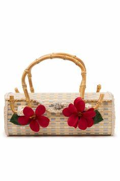 Bow and Crossbones - 50s Tiki Bamboo Queenie Handbag Plumeria
