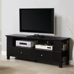 """Walker Edison Black TV Stand for TVs up to 60"""""""