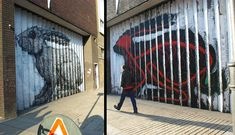 Roa painted this crazy lenticular rabbit in London back in '09 that changed perspective as you walked by. See it animated at the link.   http://www.thisiscolossal.com/2013/04/lenticular-street-art-by-roa