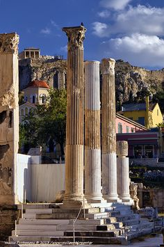 View to Acropolis from Monastiraki Square in Athens, Greece