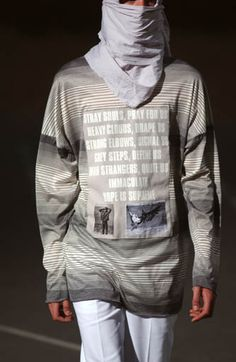 Raf Simons | SS 2002 | Woe onto those who spit on the fear generation… The wind will blow it back