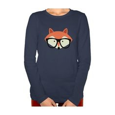 Cute Hipster Red Fox Tshirts ($42) ❤ liked on Polyvore featuring tops, t-shirts, long sleeves, red tee, fox tees, hipster tops, hipster tees and hipster t shirts