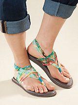 Sanuk Yoga Sling Print Sandals in Charcoal or Teal Multi. $38 | Sahalie
