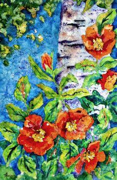 Batik Watercolor Aspen Birch Tree Poppies Orange by Martha