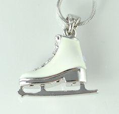 Ice Skating Figure Shoe W Swarovski Crystal Color and White Charm New Pendant