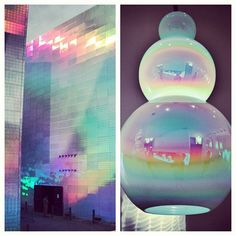 DELICATE IRIDESCENCE and holograms as seen on the @Museo Guggenheim Bilbao Tienda and lamp fixture by @Vistosi