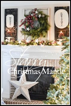 Love the wreath, black shutters and old window that make up this starry Christmas mantle from stonegableblog.com