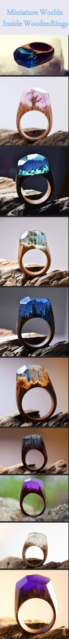 Wooden Rings With A Miniature World Inside.