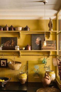 Shaker Kitchens by deVOL - Handmade Painted English Kitchens - cuisine, jaune, intérieur ancien, étagères - Devol Kitchens, Home Kitchens, Sweet Home, English Kitchens, Shaker Kitchen, Yellow Walls, Bedroom Yellow, Cuisines Design, Küchen Design