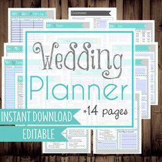 Wedding Planner DIY Wedding Binder Wedding Planner Printables Letter Size 14 Pages Instant Download Editable/Fillable BLUE (11.00 USD) by MamasGotItTogether