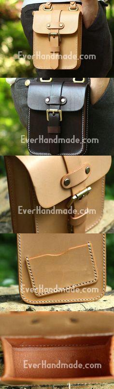 Genuine Leather Mens Hip Bag Cool Waist Bag iPad Bag Bike Bag Cycling Bag