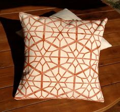 Handprinted Rustic Red Country Star Decorative Pillow Cover -Unique Home Decor Throw Pillow