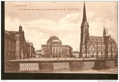 440. Germany, Chemnitz - Konigsplatz mit Neuem Stadttheater und St. Petrikirche - theater church  square 1919