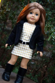 18 Inch Doll Clothes Trendy Handmade Houndstooth Sheath Dress and Black Velvet…