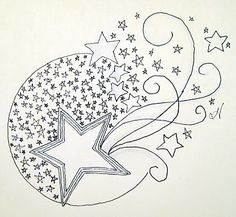 What Tangled Webs!: Starry Eyed Surprise, star coloring page Star Doodle, Zen Doodle, Doodle Art, Doodles Zentangles, Zentangle Patterns, Embroidery Patterns, Doodle Inspiration, Art Journal Inspiration, Colouring Pages
