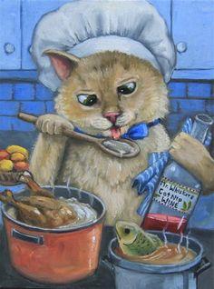 """""""Cat Nip Wine"""" - Original Fine Art for Sale - © Joy Campbell"""
