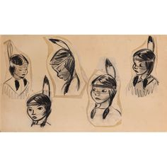 Tiger Lily model drawings from Peter Pan