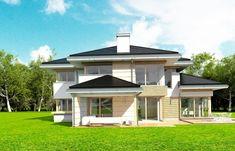 Dom z Widokiem Colonial, Design Projects, Gazebo, House Plans, Garage Doors, Villa, Outdoor Structures, House Design, Interior