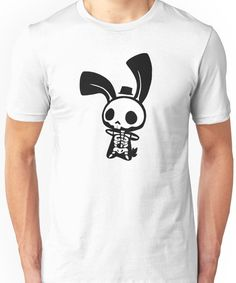 'Chui Bunny's Skeleton in a Tiny Top Hat' T-Shirt by echoisweird Echo Gillette, Tshirt Colors, Wardrobe Staples, Female Models, Classic T Shirts, Street Style, Unisex, Skeleton, Mens Tops