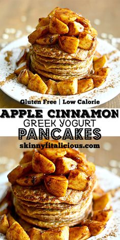 Light and fluffy Apple Cinnamon Greek Yogurt Pancakes topped with apples sautéed in coconut oil & maple syrup. These lightened up gluten free pancakes make an irresistible fall breakfast!