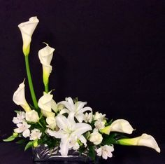 Contemporary Arrangement With Calla Lilies and White Stargazers - Centerville Florists Contemporary Flower Arrangements, Creative Flower Arrangements, Tropical Floral Arrangements, White Flower Arrangements, Altar Flowers, Church Flowers, Funeral Flowers, Faux Flowers, Send Flowers