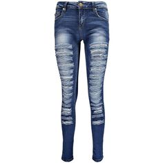 Boohoo Evie Low Rise Slashed Leg Skinny Jeans ($30) ❤ liked on Polyvore featuring jeans, pants, bottoms, ripped jeans, destroyed jeans, blue jeans, baggy jeans and distressed skinny jeans