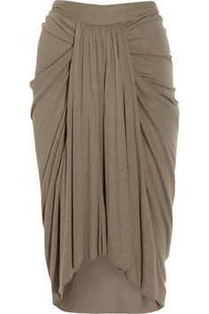 Jersey Skirt with elegant drape detail - sewing ideas; garment construction; draping fabric; fashion design; fabric manipulation