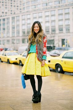i love brights with black tights and booties
