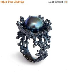 Ursula's engagement. *********Black Friday SALE  CORAL FLOWER Black Pearl Ring by AroshaTaglia