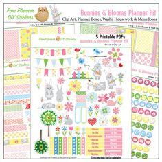 Free Spring Planner Stickers #pomplanner #spring #freebie #plannerlove #planneraddict #plannerstickers #bunnies #blooms #diy