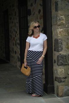 maxi skirt, tee, necklace