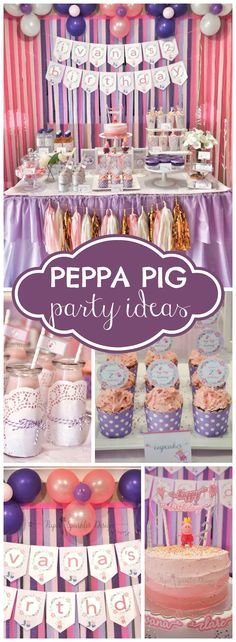 How pretty is this Peppa Pig birthday party?! See more party ideas at CatchMyParty.com!
