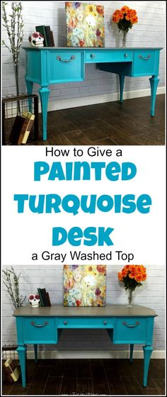 vintage painted turquoise desk with gray washed top is part of Turquoise painting Furniture - vintage painted turquoise desk with gray washed top revealing patterned wood grain underneath and silver gray hardware to match Painting Wood Furniture, Painting Furniture Diy, Painted Furniture, Gray Painted Furniture, Painted Furniture Colors, Repurposed Furniture, Diy Furniture Projects, Teal Desk, Upcycle Decor
