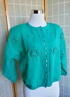 Green Cardigan with flower applique - perfect for Ugly Christmas Sweater  Party Contest  ) 2c24c74d8